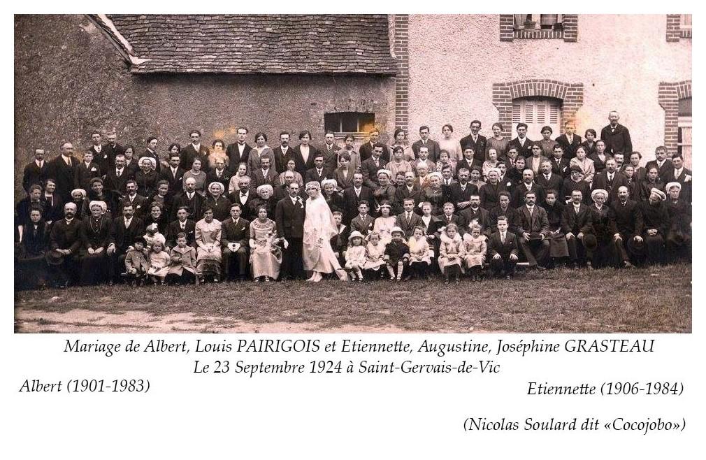 Saint Gervais de Vic - Mariage - PAIRIGOIS Albert, Louis et GRASTEAU Etiennette, Augustine, Joséphine - 23 septembre 1924 - Vue 02 (Nicolas Soulard dit Cocojobo)