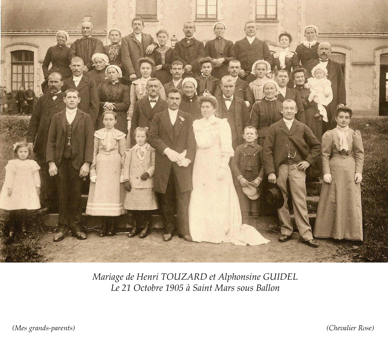 Saint Mars sous Ballon TOUZARD Henri et GUIDEL Alphonsine 21 Octobre 1905 Vue 02 Chevalier Rose