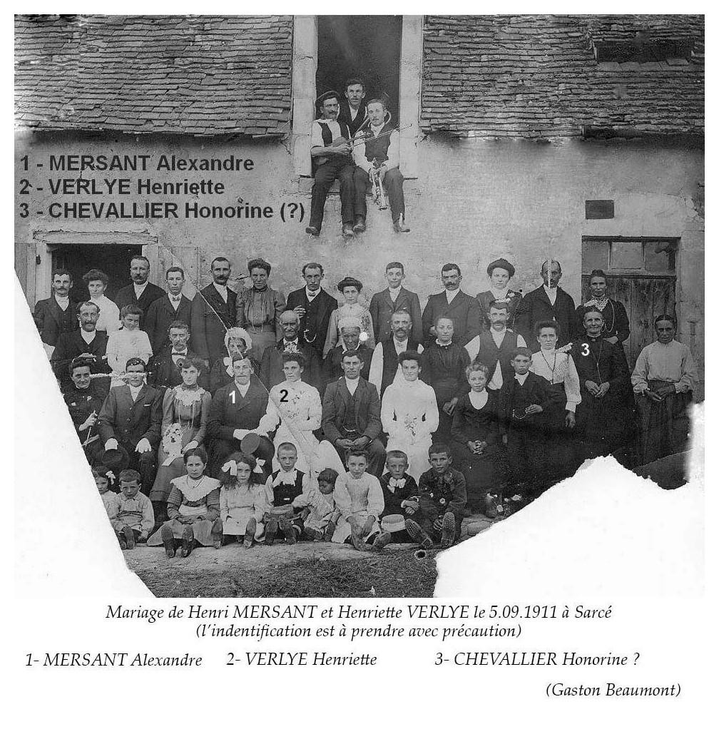 Sarcé - Mariage - MERSANT Alexandre et VERLYE Henriette - 5 septembre 1911 - Vue 02 (Gaston Beaumont)