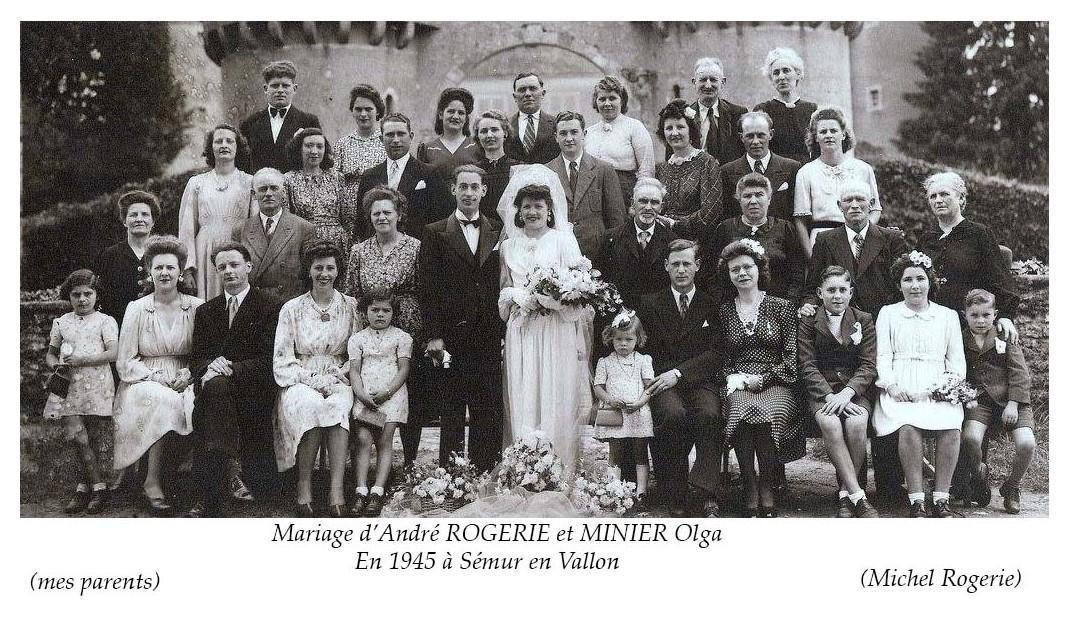 Semur en Vallon - Mariage - ROGERIE André et MINIER Olga - 1945 - Vue 02 (Michel Rogerie)