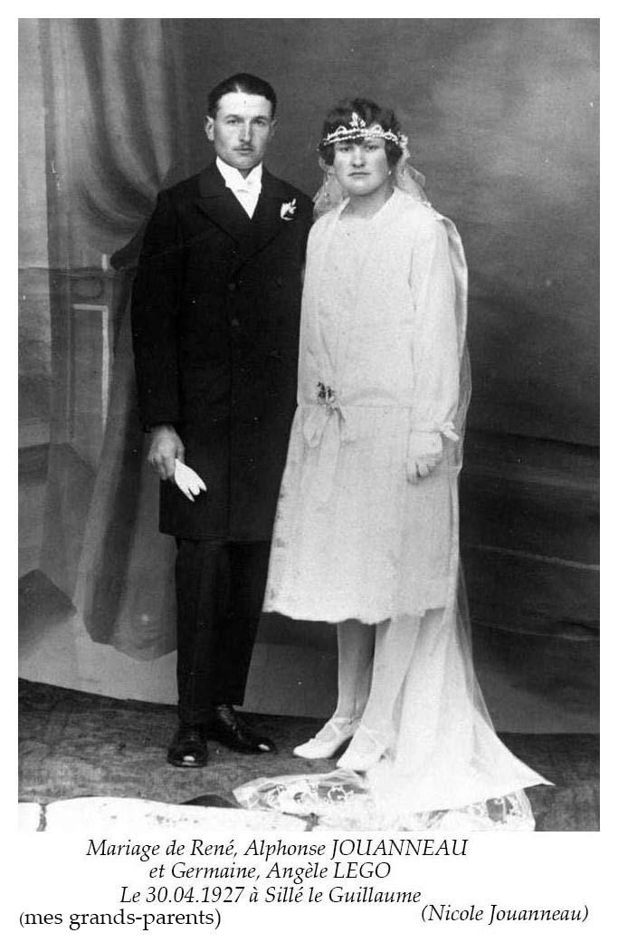 Sillé le Guillaume - Mariage - JOUANNEAU René, Alphonse et LEGO Germaine, Angèle - 30 avril 1927 - Vue 01 (Nicole Jouanneau)