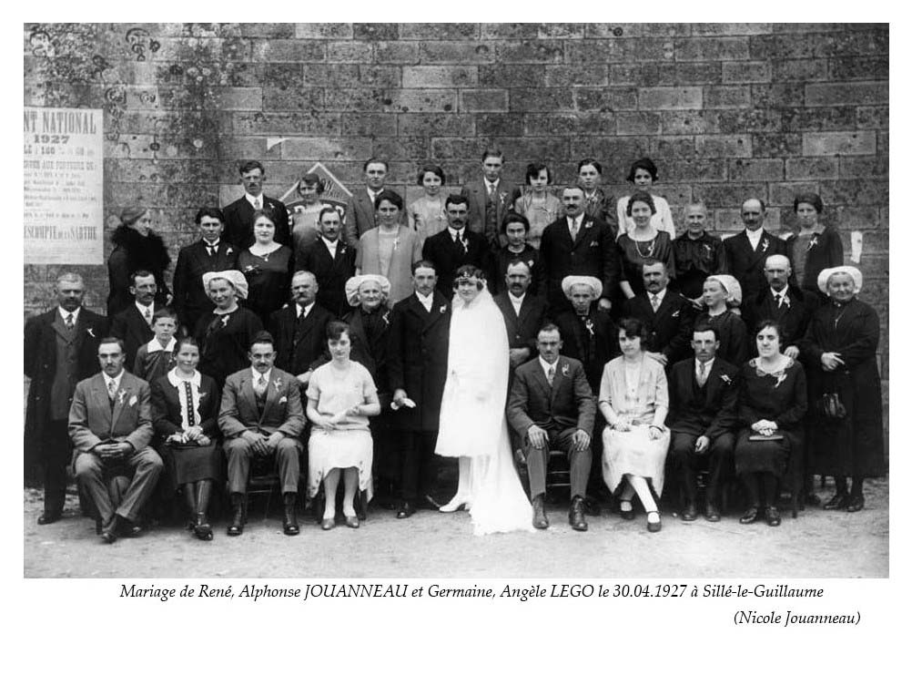 Sillé le Guillaume - Mariage - JOUANNEAU René, Alphonse et LEGO Germaine, Angèle - 30 avril 1927 - Vue 02 (Nicole Jouanneau)
