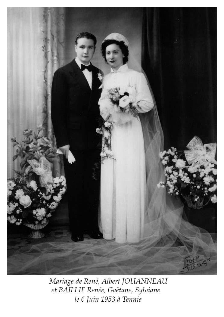 Tennie - Mariage - JOUANNEAU René, Albert et BAILLIF Renée, Gaëtane, Sylviane - 6 juin 1953 (Nicole Jouanneau)