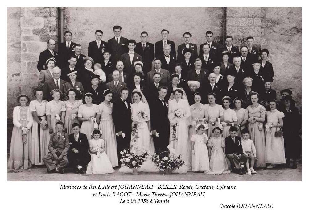 Tennie - Mariage - JOUANNEAU René, Albert et BAILLIF Renée, Gaëtane, Sylviane - RAGOT Louis et JOUANNEAU Marie-Thérèse - 6 juin 1953 (Nicole Jouanneau)