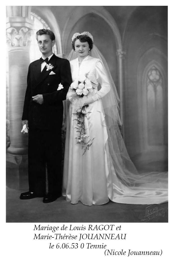 Tennie - Mariage - RAGOT Louis et JOUANNEAU Marie-Thérèse - 6 juin 1953 (Nicole Jouanneau)