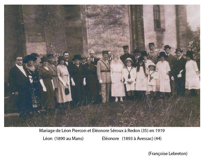 Zone 35 - Redon - Mariage - PIERCON Léon et SEROUX Eléonore - 1919 (Françoise Lebreton)