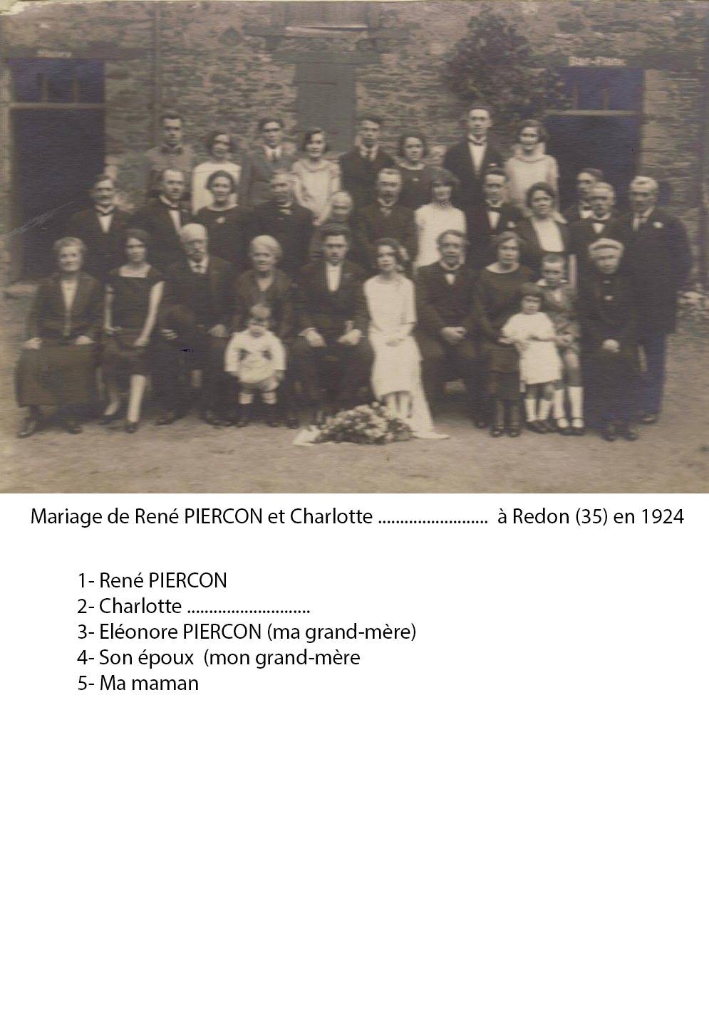 Zone 35 - Redon - Mariage - PIERCON René et Charlotte - 1924 - Vue 02 (Françoise Lebreton)