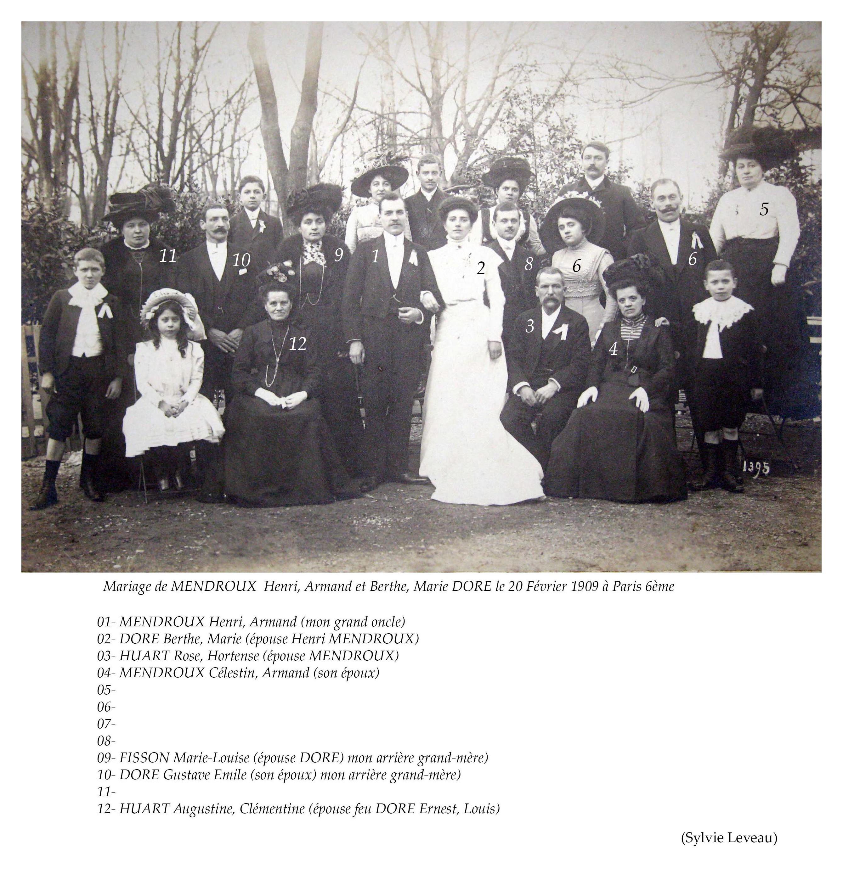 Zone 75 - Paris 6ème - Mariage - MENDROUX Henri, Armand et DORE Berthe, Marie - 20 février 1909 (Sylvie Leveau)