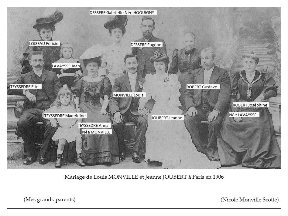 Zone 75 - Paris - Mariage - MONVILLE Louis et JOUBERT Jeanne - Paris - 1906 (Nicole Monville Scotte)