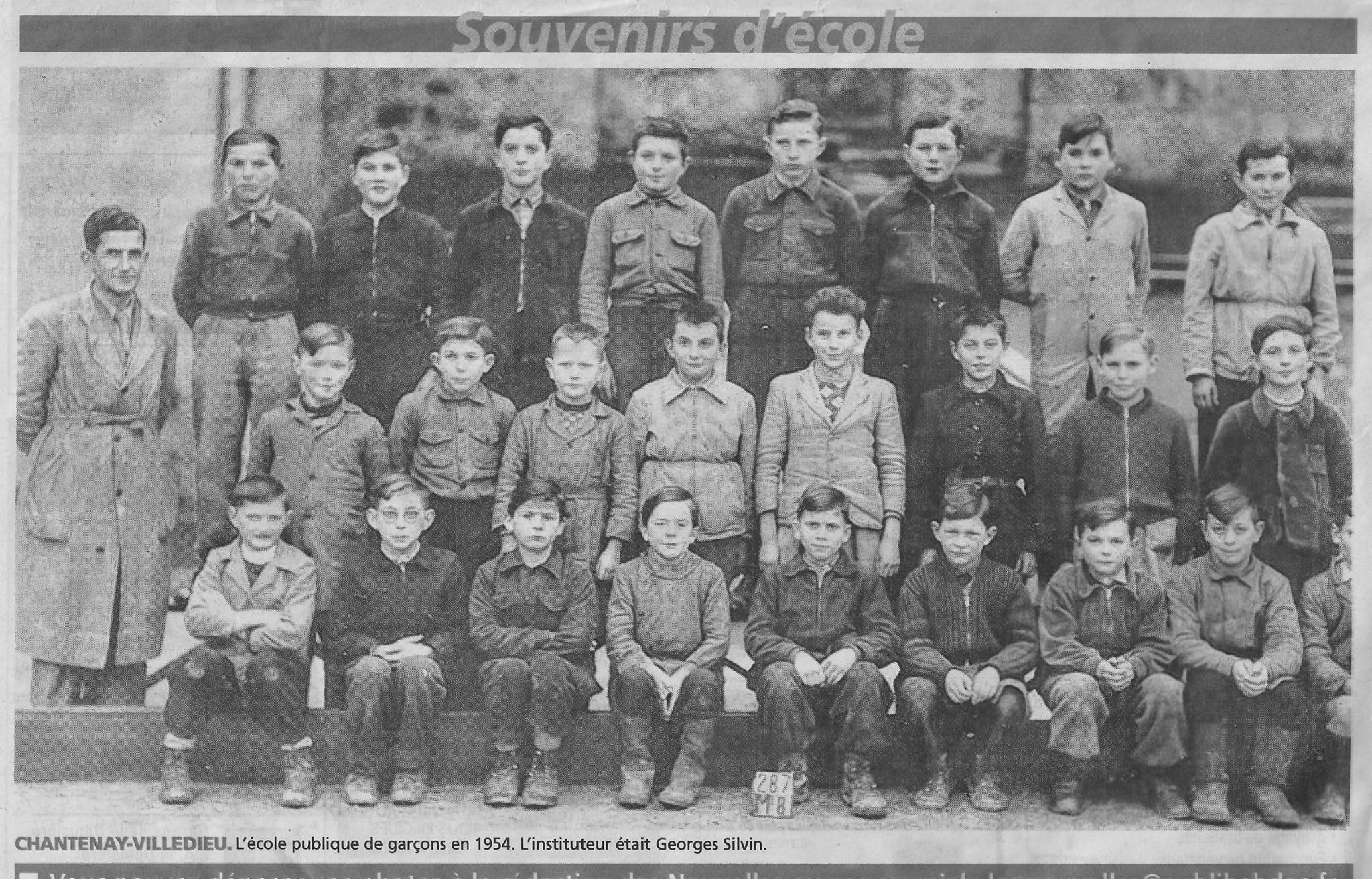 Chantenay Villedieu - Groupes - Photos de classe - Ecole publique de garçons - Instituteur SILVIN Georges - 1954