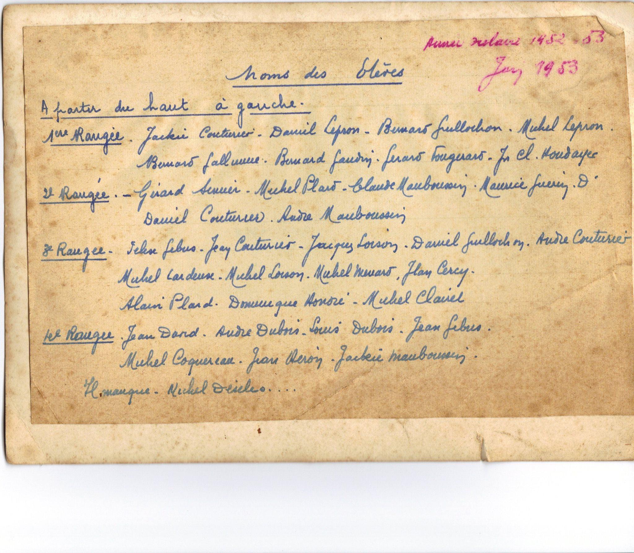 Groupes - Photos de classe - Juin 1953 - Vue 02 (Jean-Luc Pommeliet)