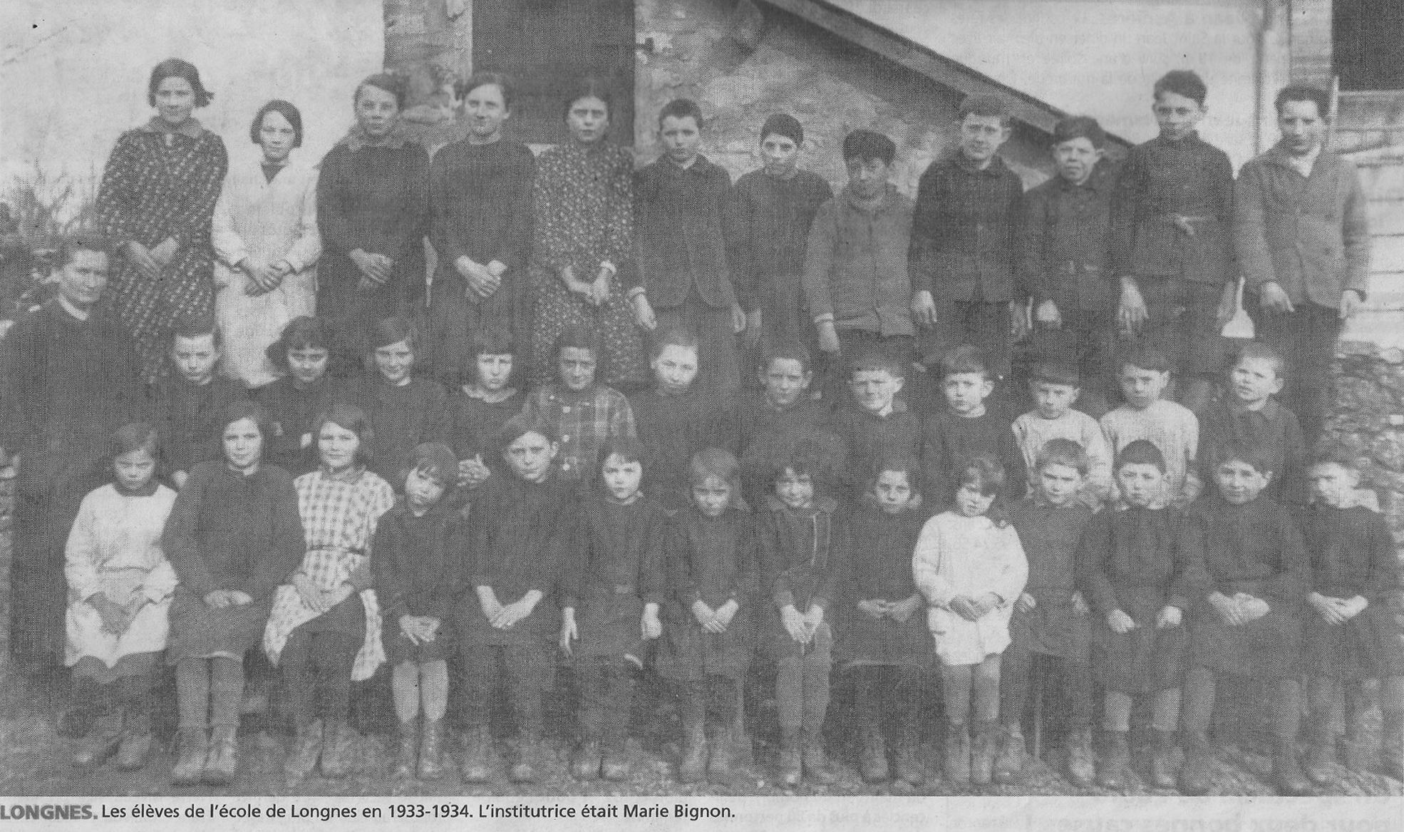 Longnes - Groupes - Photos de classe - Institutrice BIGNON Marie - 1933-1934