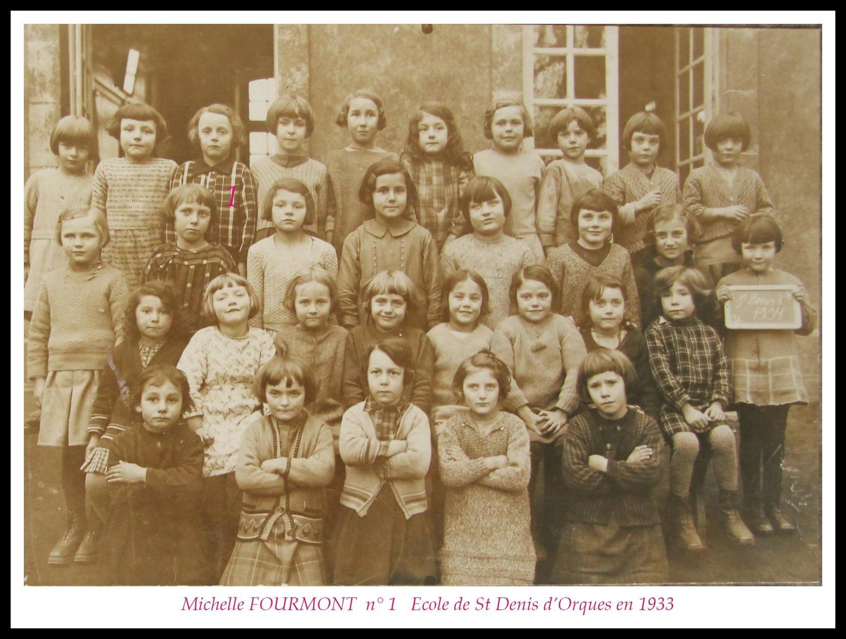 Saint Denis d'Orques - Groupes - Photos de classe - FOURMONT Michèle - 1933 (Sylvie Leveau)