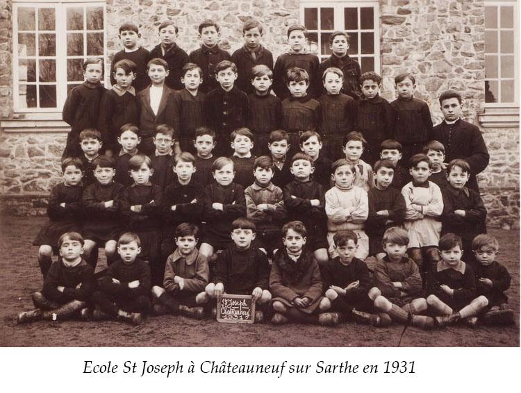 Zone 49 - Chateauneuf sur Sarthe - Groupes - Photos de classe -  - Ecole Saint Joseph - 1931