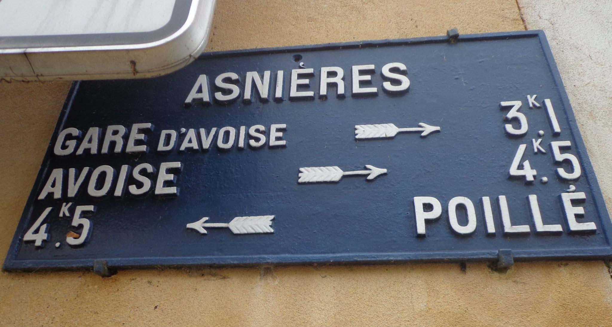 Asnières sur Vègre - Plaque de cocher - Gare d'Avoise - Avoise - Poillé (Marie-Yvonne Mersanne)