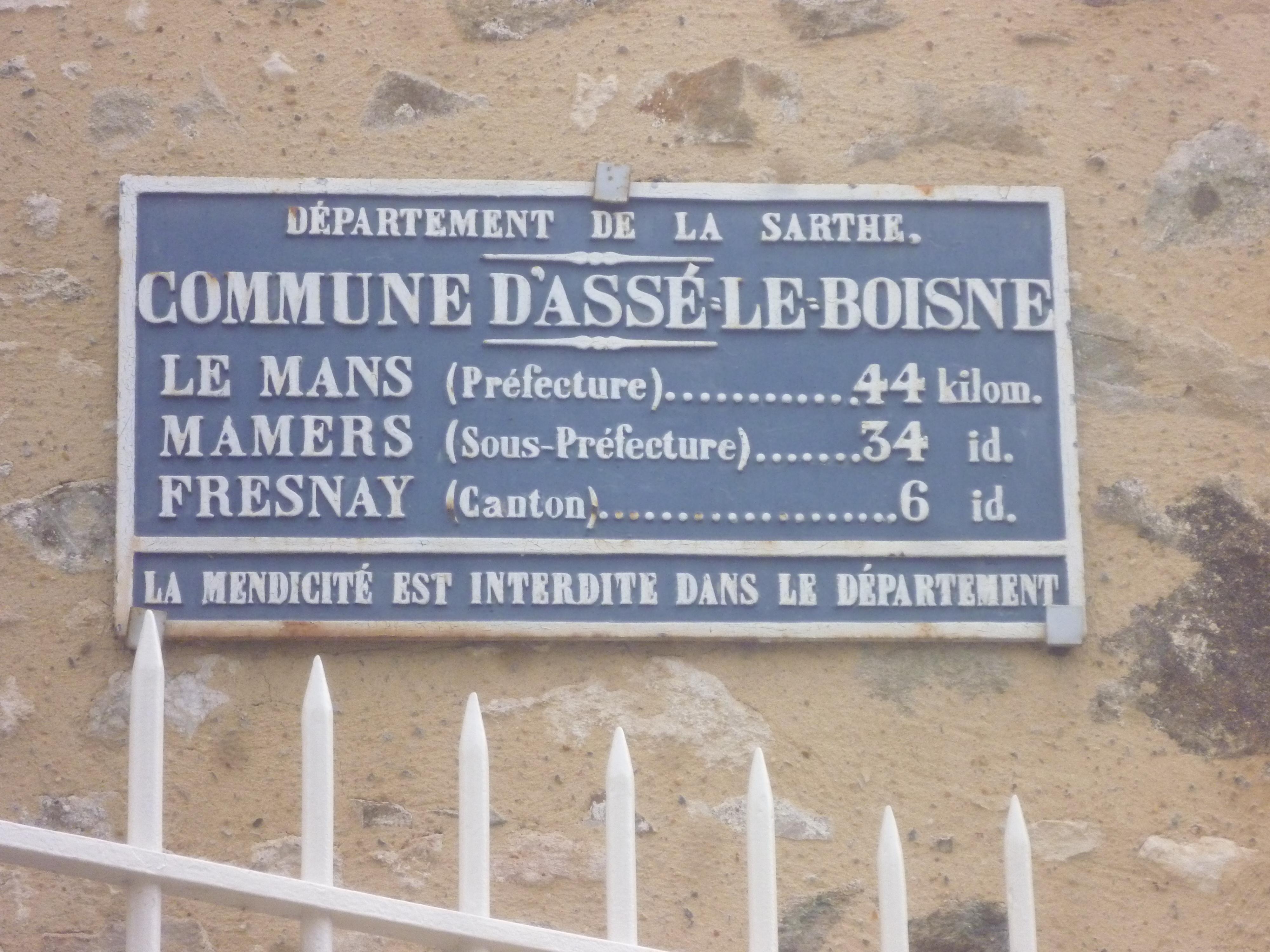 Assé le Boisne, rue de la Motte - Plaque de cocher - Le Mans - Mamers - Fresnay (Gwéna Tireau)