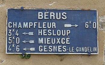 Bérus - Plaque de cocher - Champfleur - Hesloup - Mieuxcé - Gesnes le Gandelin (Camille Chauvet)