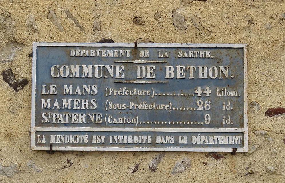 Béthon - Plaque de cocher - Le Mans - Mamers - Saint Paterne (Source Internet, Yodaspirine)