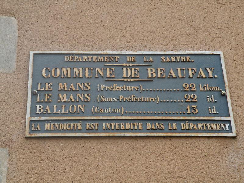 Beaufay - Plaque de cocher - Le Mans - Ballon (Source Internet, Pymouss)