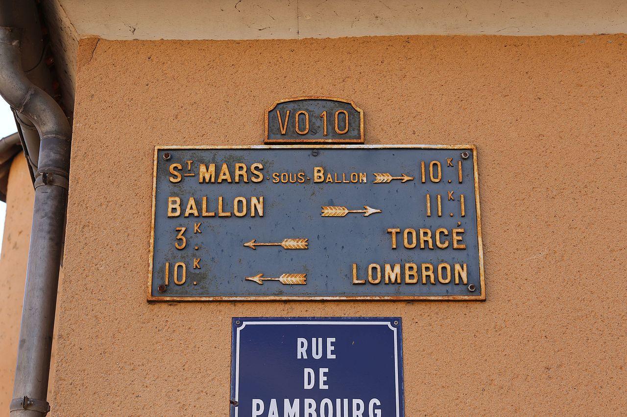 Beaufay, rue de Pambourg - Plaque de cocher - Saint Mars sous Ballon - Ballon - Torcé - Lombron (Source Internet, Pymouss)