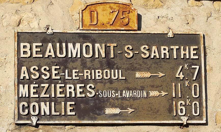 Beaumont sur Sarthe - Plaque de cocher - Assé le Riboul - Mézières sous Lavardin - Conlie (Source Internet, Pymouss)