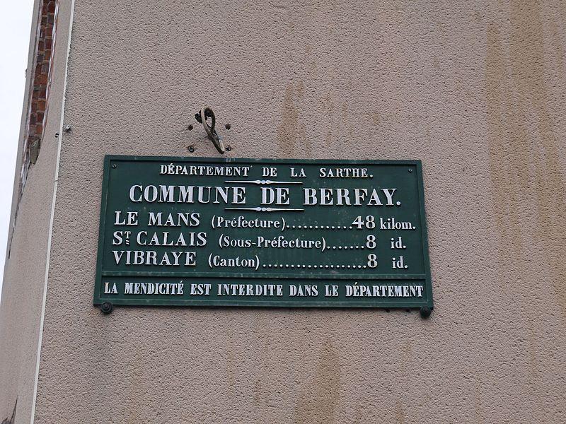 Berfay - Plaque de cocher - Le Mans - Saint Calais - Vibraye (Source Internet, Simon de l'Ouest)