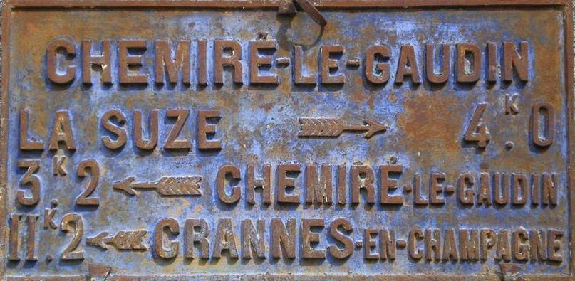 Chemiré le Gaudin - Plaque de cocher - La Suze - Chemiré le Gaudin - Crannes en Champagne (Philippe Gondard)