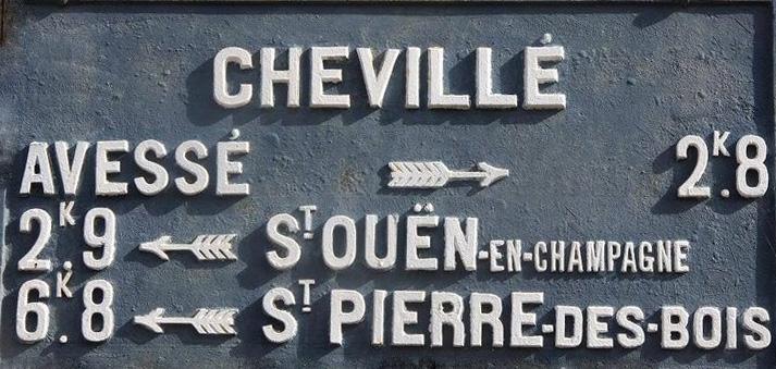 Chevillé - Plaque de cocher - Avessé - Saint Ouen en Champagne - Saint Pierre des Bois (Sylvie Leveau)