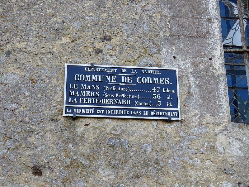 Cormes - Plaque de cocher - Le Mans - Mamers - La Ferté Bernard (Source Internet, Yodaspirine)