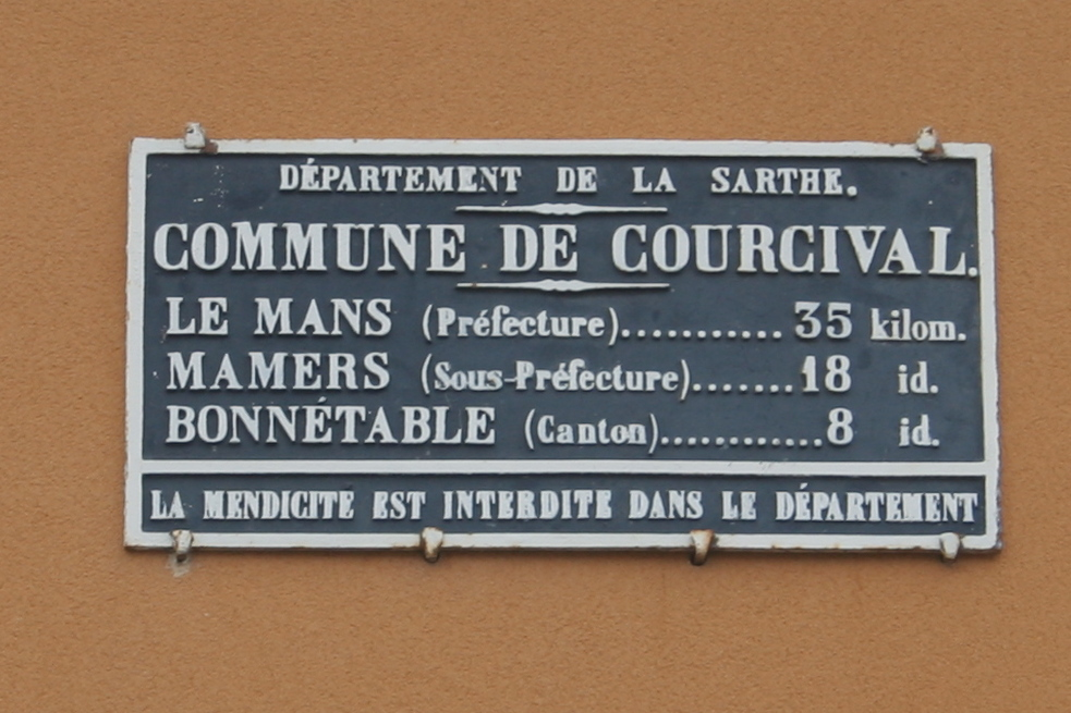 Courcival - Plaque de cocher - Le Mans - Mamers - Bonnétable (Source Internet, Pymouss)