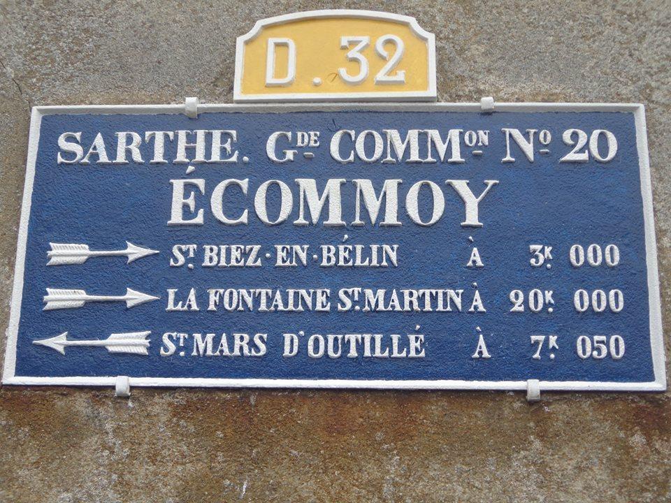Ecommoy - Plaque de cocher - Saint Biez en Belin - La Fontaine Saint Martin - Saint Mars d'Outillé (Marie-Yvonne Mersanne)