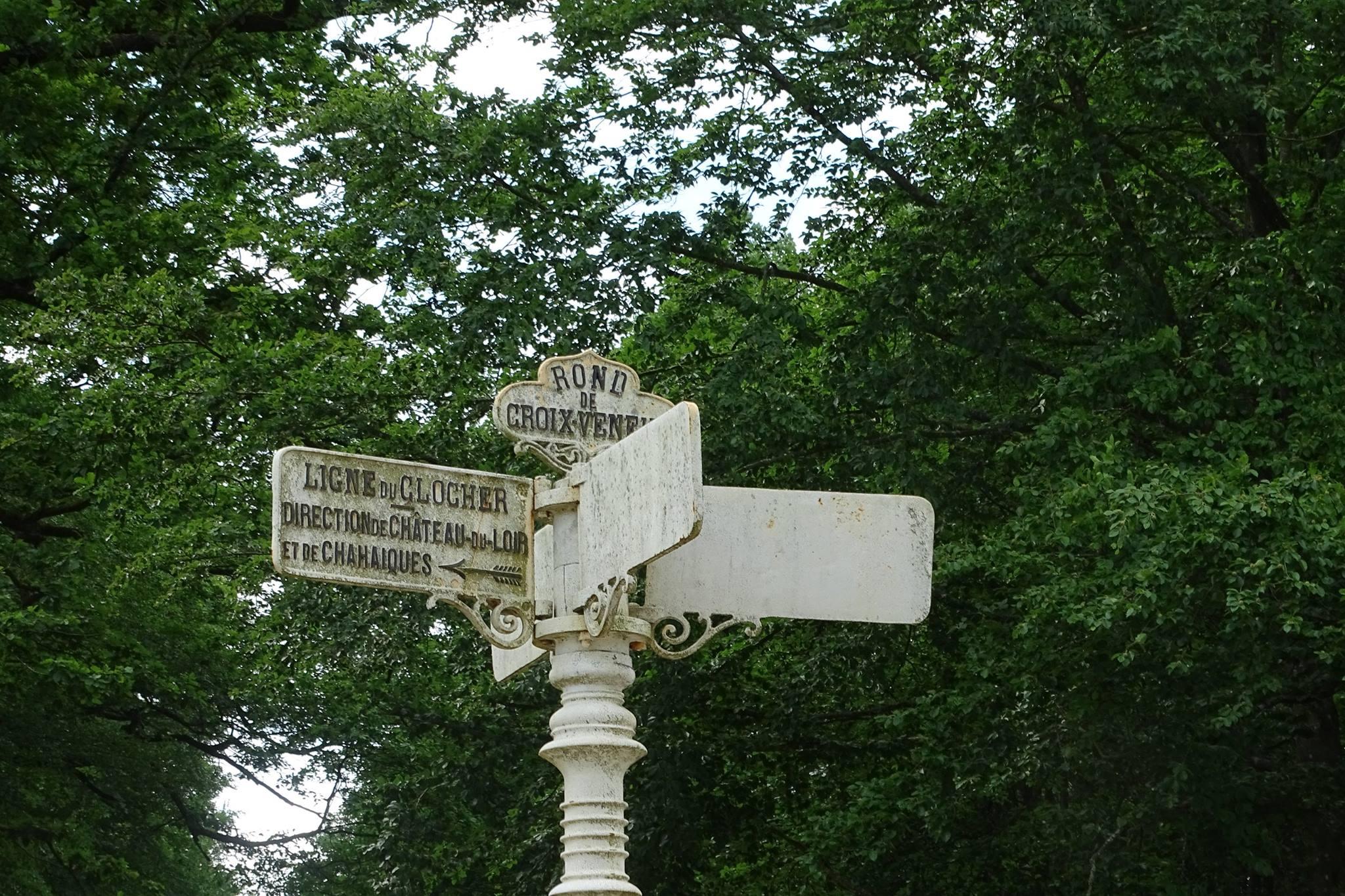 Forêt de Bercé - Plaque de cocher - Rond de Croix Veneur - Ligne du clocher - Direction de Château du Loir et de Chahaiques (Marie-Yvonne Mersanne)