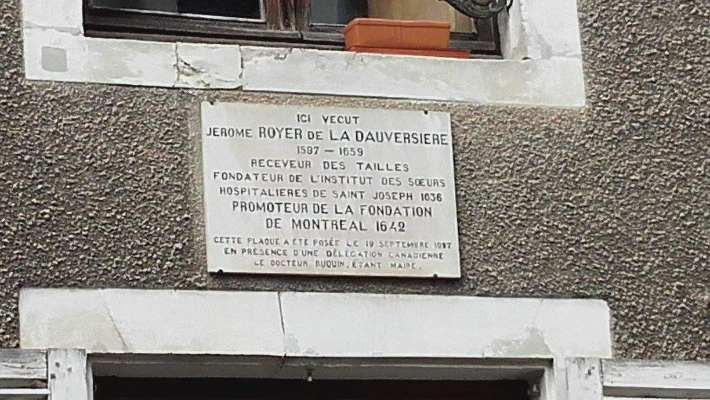 La Flèche - Autre plaque - Jérôme Le Royer de La Dauversière 02 (Michel Mimitontonparrain)