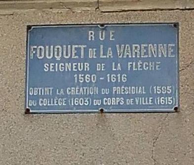 La Flèche - Plaque de rue - Rue Fouquet de La Varenne - Seigneur de La Flèche