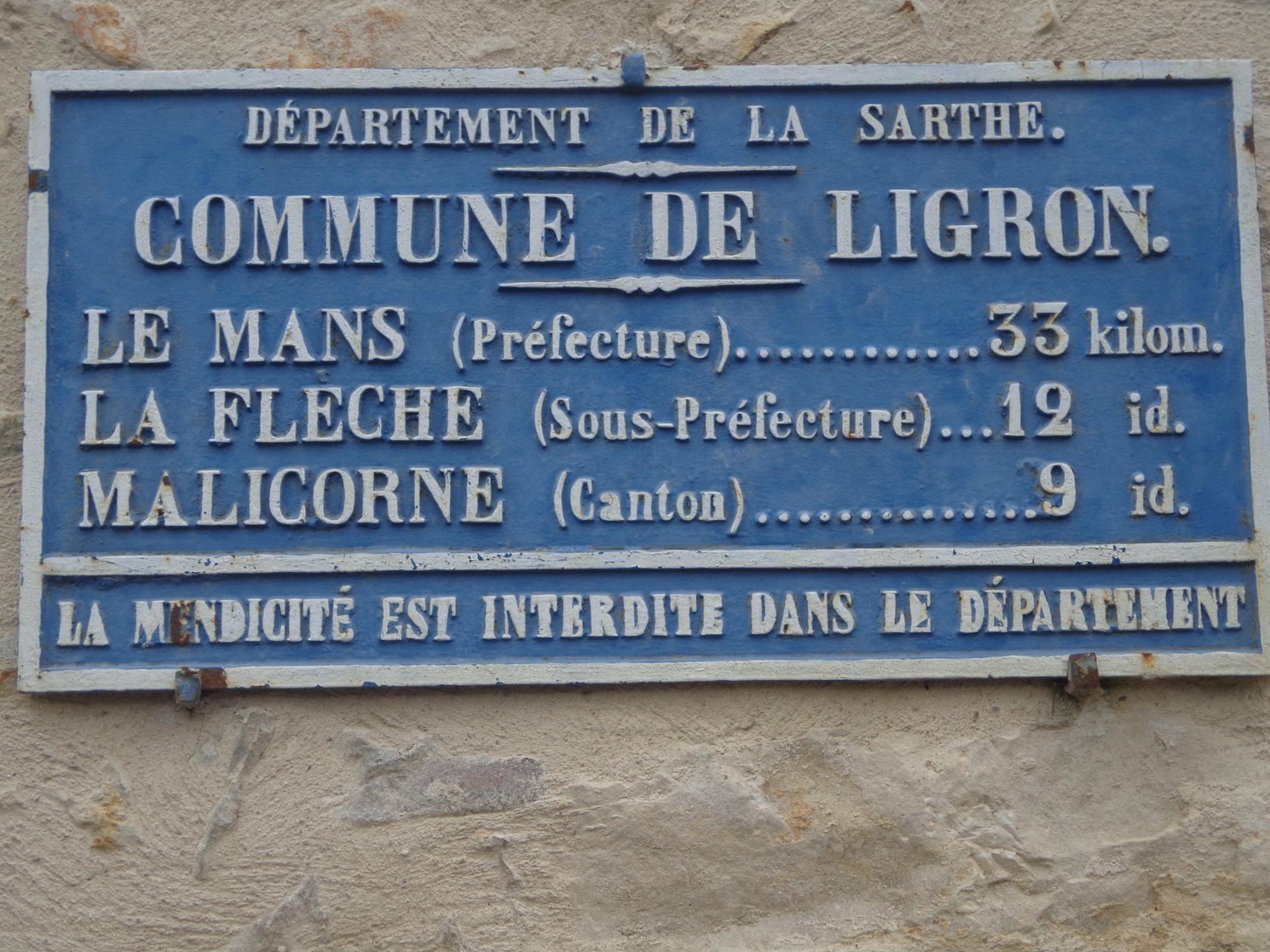 Ligron - Plaque de cocher - Le Mans - La Flèche - Malicorne (Marie-Yvonne Mersanne)