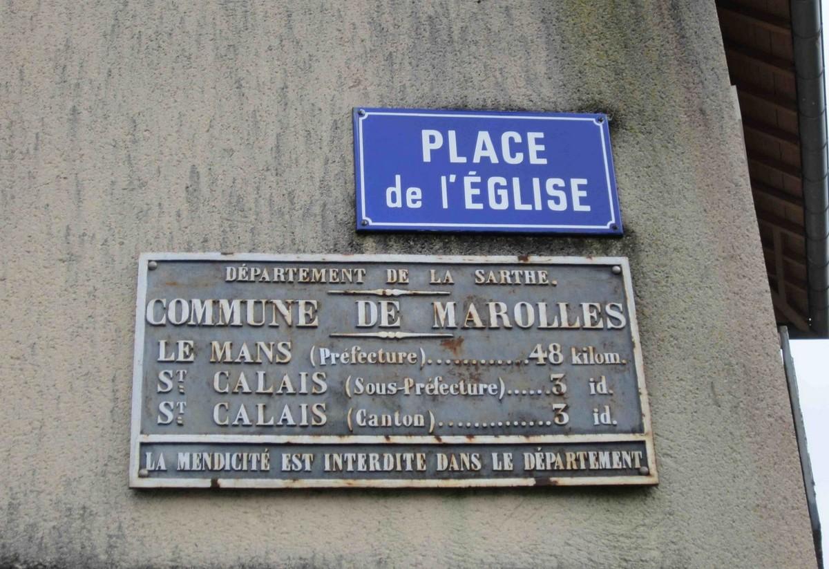 Marolles lès Saint Calais, rue des Vergers - Plaque de cocher - Le Mans - Saint Calais (Jean-François Lobreau)