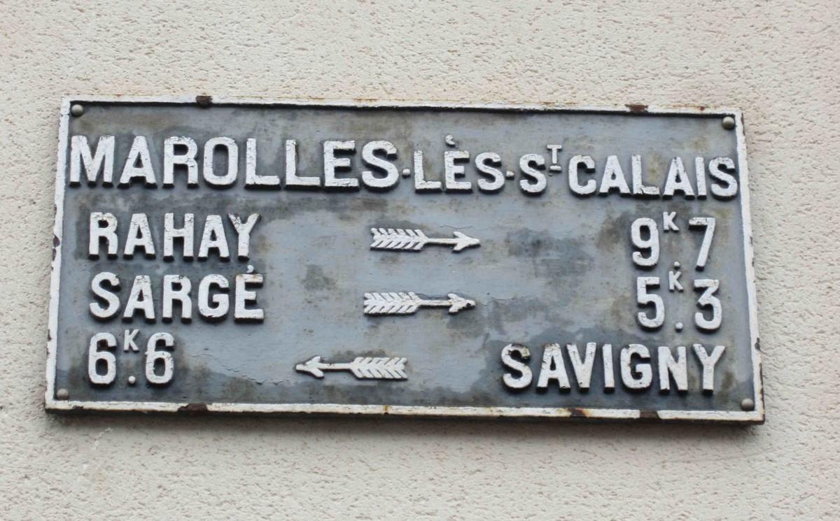 Marolles lès Saint Calais, rue du Parc - Plaque de cocher - Rahay - Sargé - Savigny (Jean-François Lobreau)