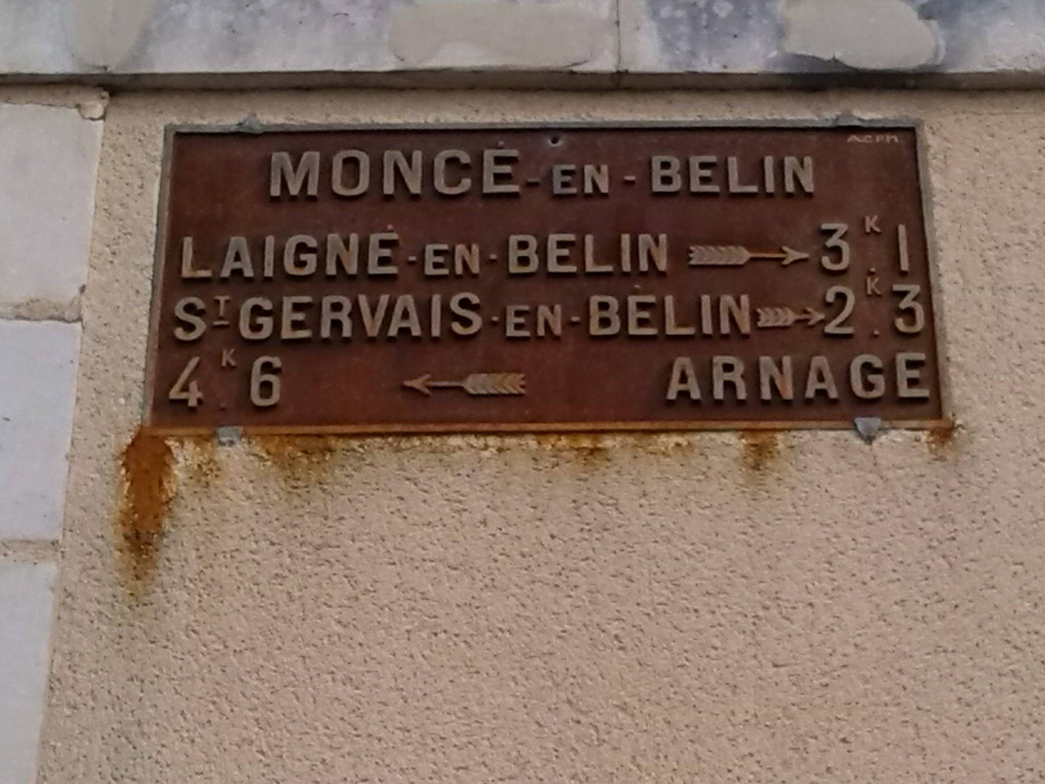 Moncé en Belin - Plaque de cocher - Laigné en Belin - Saint Gervais en Belin - Arnage (Jean-Guy Busson)