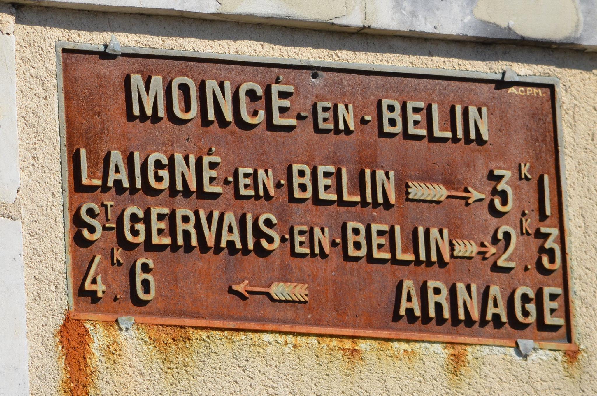 Moncé en Belin - Plaque de cocher - Laigné en Belin - Saint Gervais en Belin - Arnage (San Doni)