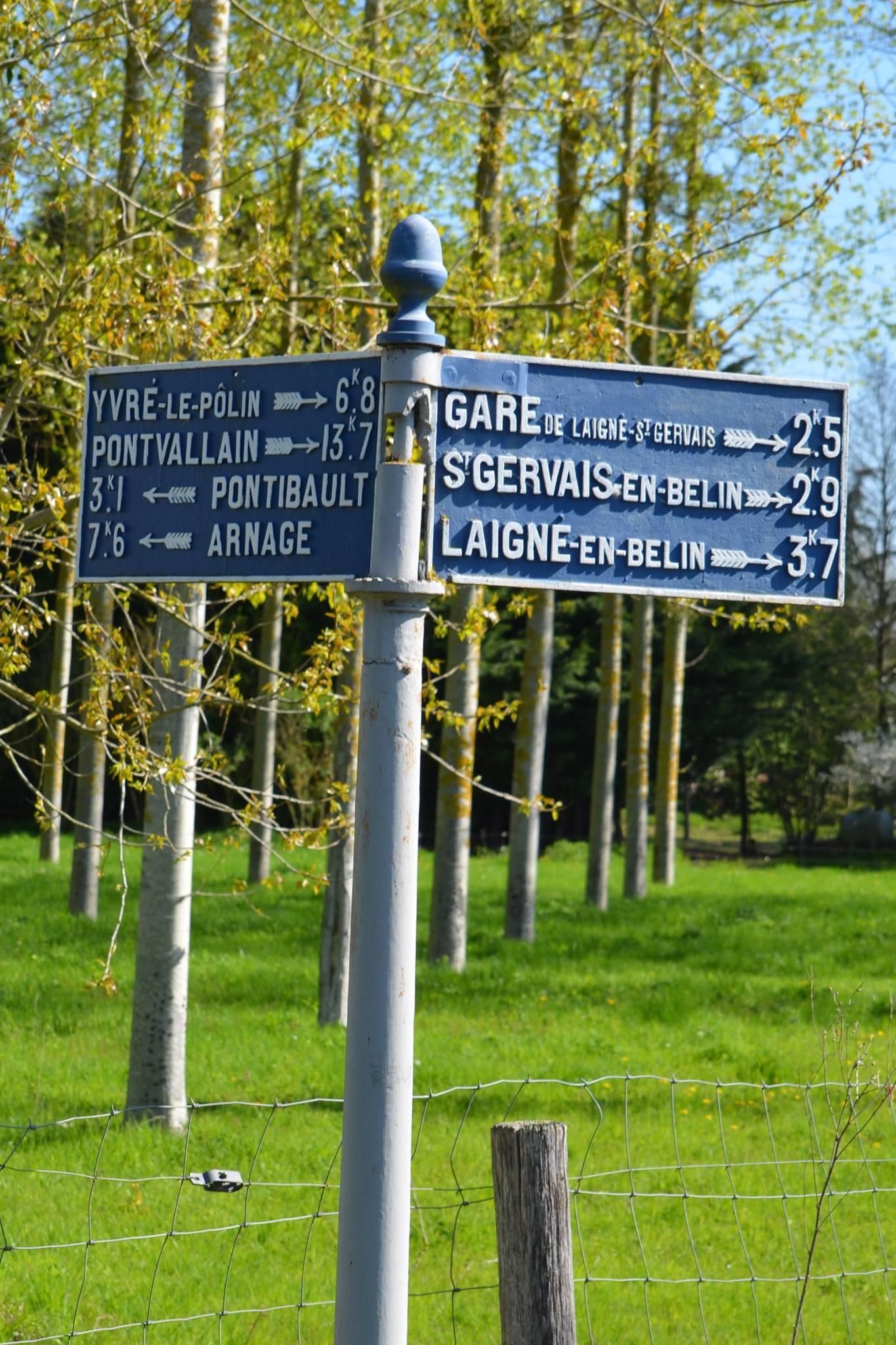 Moncé en Belin, près de la route de la Claverie - Plaque de cocher - Yvré le Pôlin - Pontvallain - Pontibault - Arnage - Gare de Laigné Saint Gervais - Saint Gervais en Belin - laigné en Belin (San Doni)
