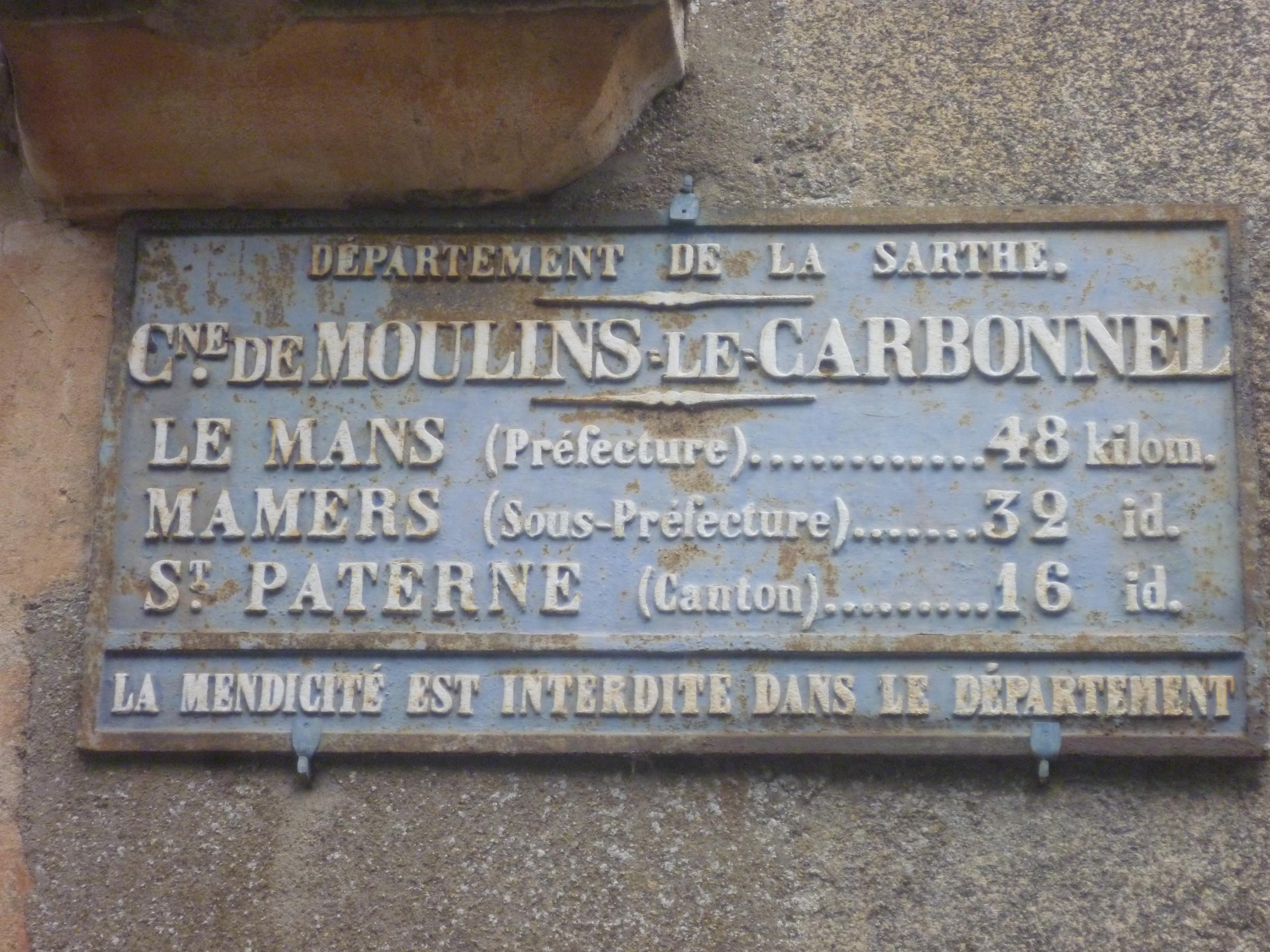Moulins le Carbonnel - Plaque de cocher - Le Mans - Mamers - Saint Paterne (Gwéna Tireau)