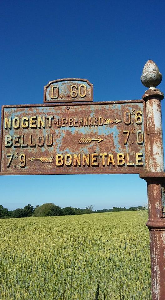Nogent le Bernard, lieu dit Le Petit Haloppe sur la D60 - Plaque de cocher - Nogent le Bernard - Bellou - Bonnétable (Françoise Lebreton)