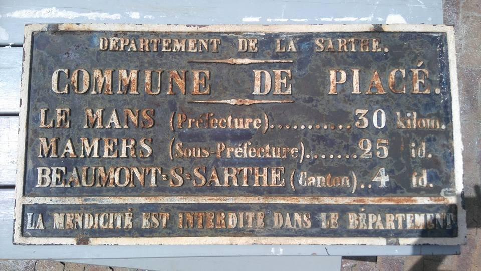 Piacé - Plaque de cocher - Le Mans - Mamers - Beaumont sur Sarthe (Nicolas Jamois)
