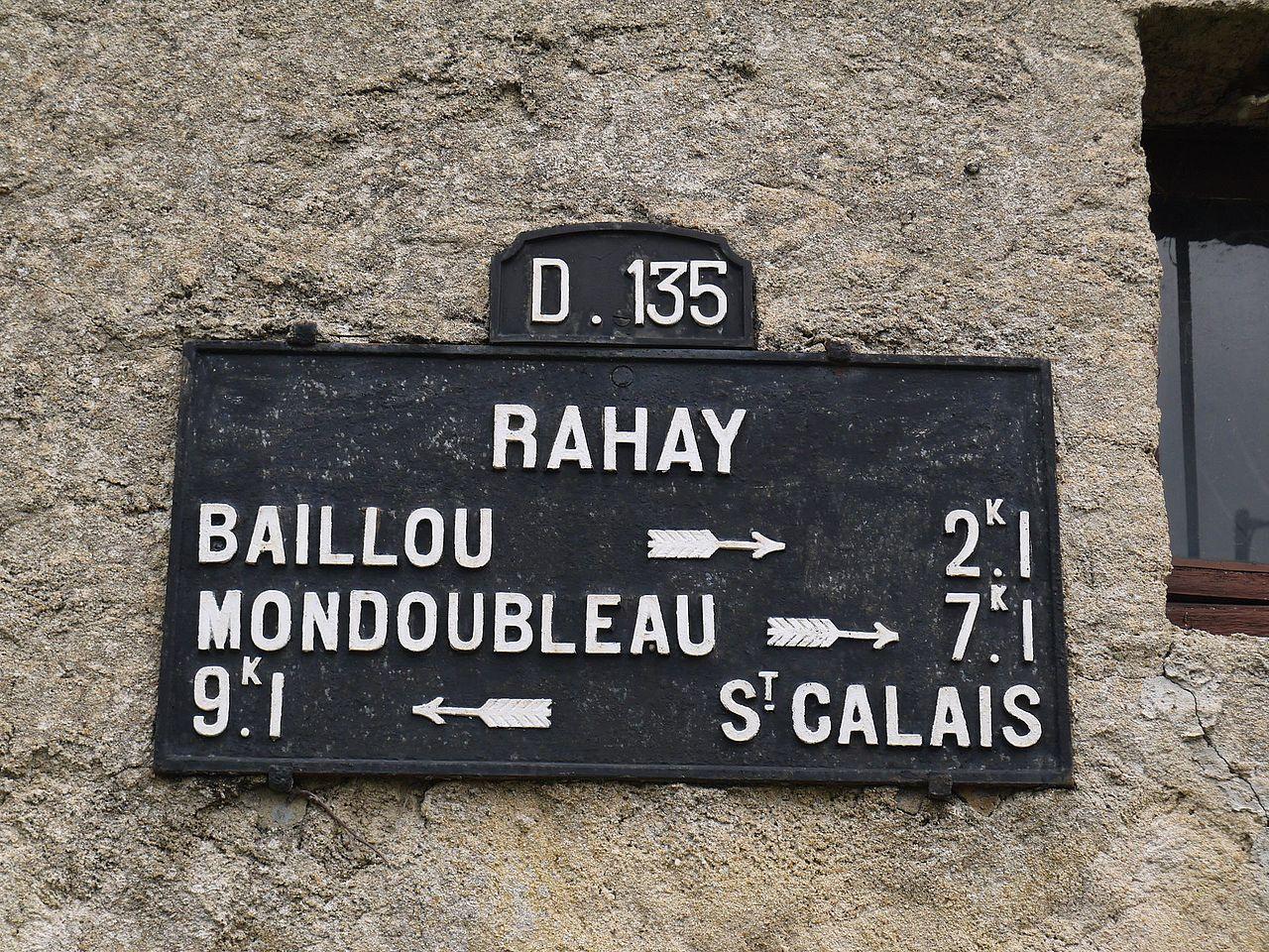 Rahay - Plaque de cocher - Baillou - Mondoubleau - Saint Calais (Source Internet, Simon de l'Ouest)