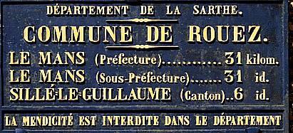 Rouez - Plaque de cocher - Le Mans - Sillé le Guillaume (Sylvie Leveau)