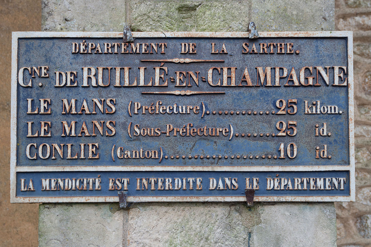 Ruillé en Champagne - Plaque de cocher - Le Mans - Conlie (Source Internet, Pymouss)