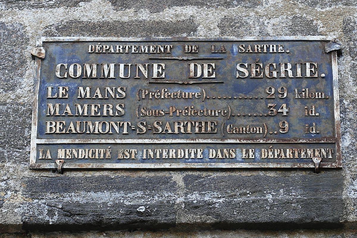 Ségrie - Plaque de cocher - Le Mans - Mamers - Beaumont sur Sarthe (Source Internet, Pymouss)