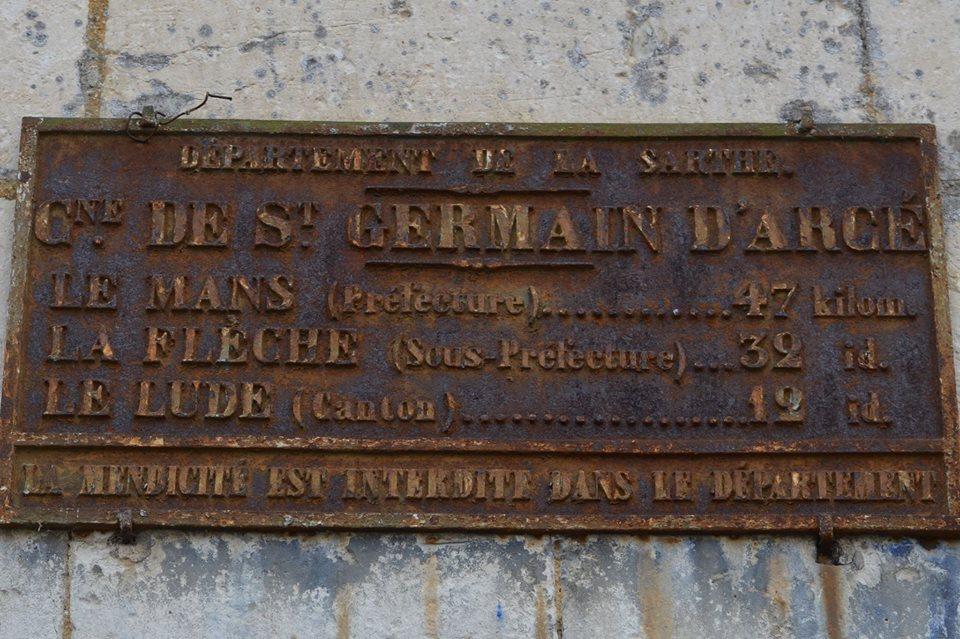 Saint Germain d'Arcé - Plaque de cocher - Le Mans - La Flèche - Le Lude (San Doni)