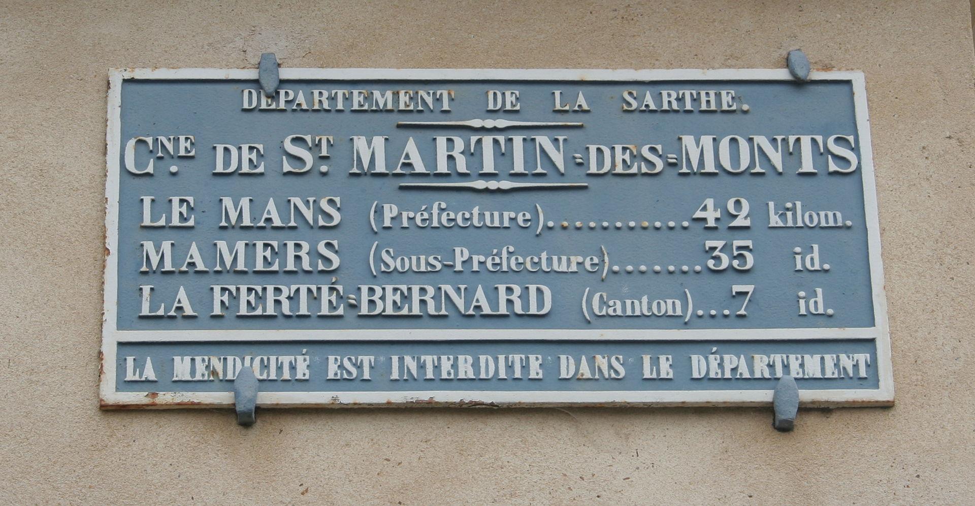 Saint Martin des Monts - Plaque de cocher - Le Mans - Mamers - La Ferté Bernard (Source Internet, Pymouss)