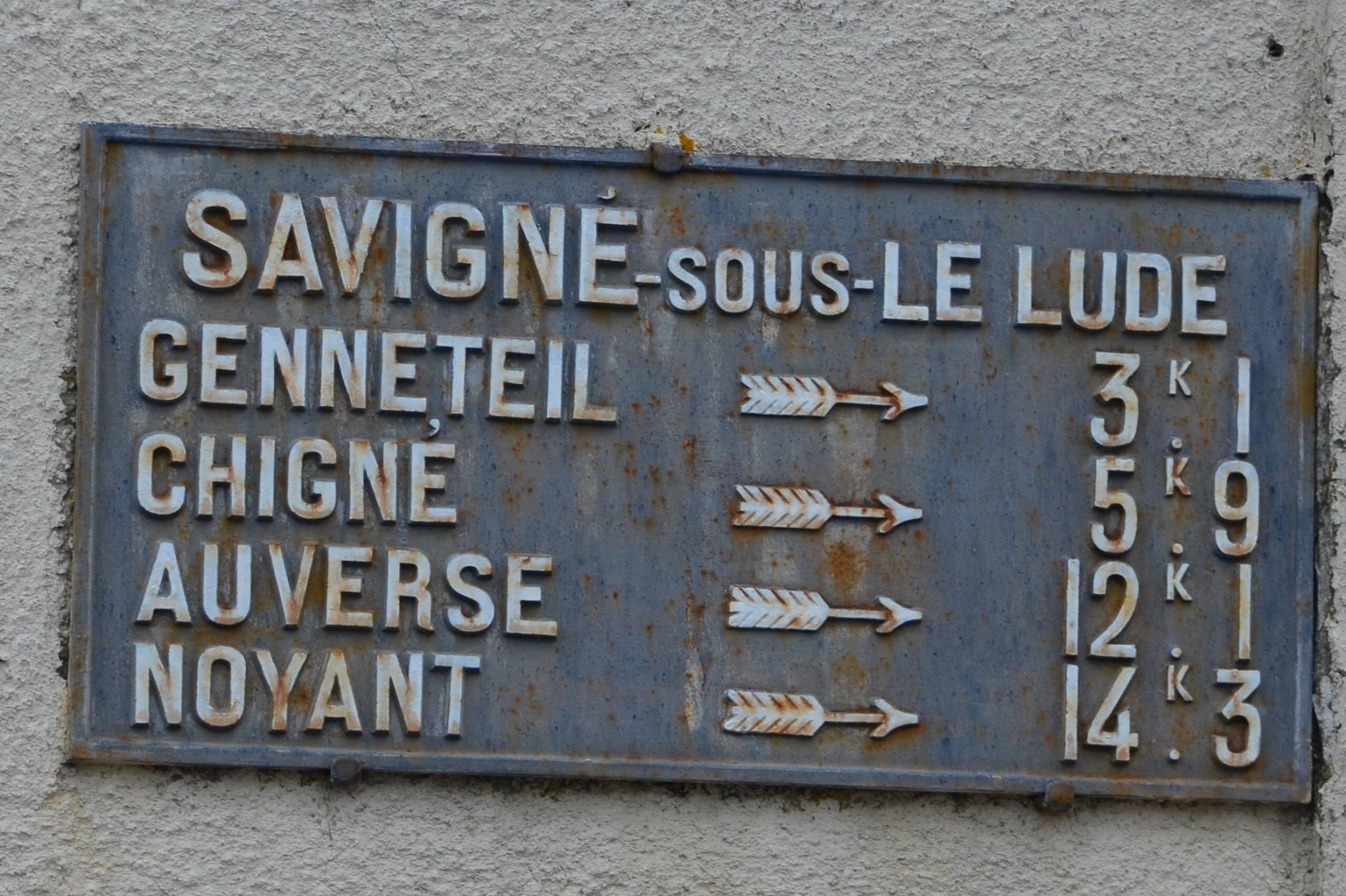 Savigné sous le Lude - Plaque de cocher - Genneteil - Chigné - Auverse - Noyant (San Doni)